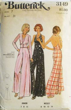 1970s Vintage Sewing Pattern Butterick 3149 Juniors Disco Halter-Jumpsuit & Jacket Pattern Size 7 Bust 31 by SewYesterdayPatterns on Etsy