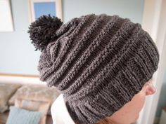 Hand Knitted Slate Toorie beanie hat with bobble by JenStarKnits, £15.00