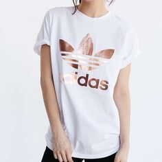 Rose Gold Double Logo Tee Rose gold logo t-shirt from adidas originals. Brand new and never worn, only tags removed Adidas Tops Tees - Short Sleeve