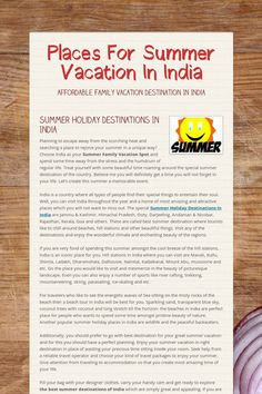Places For Summer Vacation In India - Affordable Family Vacation Destination In India by Munish Dhiman Jagdev Holiday Destinations In India, Family Vacation Destinations, Amazing Destinations, Vacation Ideas, Audio Visual Installation, Affordable Family Vacations, Beach Place, India Tour, Digital Signage