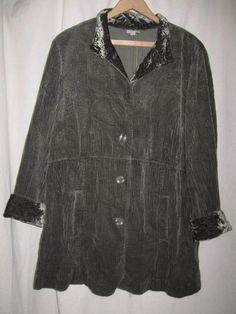 J Jill LGreen Tumbled Corduroy Velvet Trim Pleated Swing Jacket Petite Large #JJill #BasicJacket