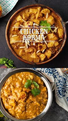 Chicken Korma is a buttery, spicy, and flavorful entreé that's both comforting and hearty. Make this Indian curry recipe for dinner tonight! Recipe For Chicken Korma, Chicken Curry Recipes, Indian Chicken Curry, Korma Curry Recipes, Healthy Chicken Curry, Indian Chicken Recipes, Chicken Skillet Recipes, Indian Curry, Indian Food Recipes