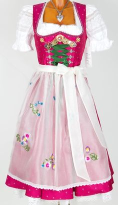 Pink dirndl with sheer apron.