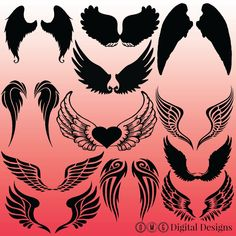 12 Angel Wings Silhouette Images Digital Clipart Images Clipart Design Elements…