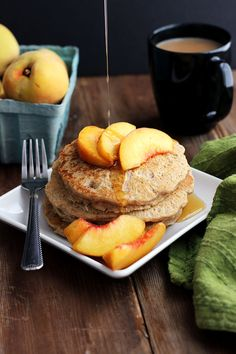 Vegan Oatmeal Pecan Pancakes | Dietitian Debbie Dishes