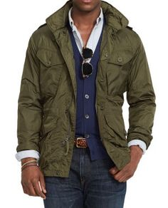 Polo Ralph Lauren Lightweight Combat Jacket, This lightweight, trim-fitting full-zip jacket features a stowaway hood and conveniently packs into its own hip pocket, making storage a cinch. Black Parka Jacket, Combat Jacket, Bomber Jacket Men, Military Jacket Outfits, Military Style Jackets, Casual Jackets, Mens Wool Coats, Mens Overcoat, Discount Mens Clothing