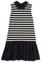 Kate Spade New York Sleeveless Striped Ponte & Pebbled Crepe Shift Dress, Black/White, Size 7-14