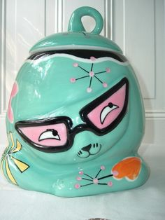 """Katherine's Collection Whimsical Cat with Glasses Cookie Jar Canister 10""""HX9""""W 