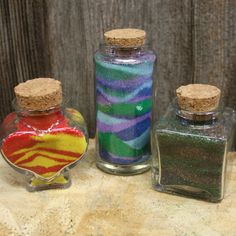 Sand Art Gift Set Colored Sand and 3 Glass by LakefrontLiving Colored Sand, Sand Art, Glass Jars, Unique Jewelry, Handmade Gifts, Etsy, Vintage, Diy Colored Sand, Kid Craft Gifts