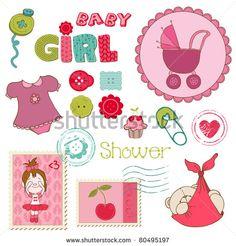 Scrapbook Baby shower Girl Set - design elements - stock vector