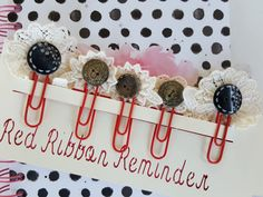 5 Planner Decor/ Buttons and Lace/ Bookmakers/ Jumbo Paper Clips/ Planner…