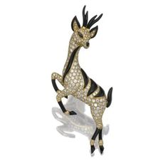 Onyx and diamond brooch, Bulgari. photo courtesy Sothebys  Designed as a stylised antelope set with onyx and brilliant-cut diamonds, mounted in yellow gold, signed Bulgari, French export and maker's marks, Italian assay and maker's marks,