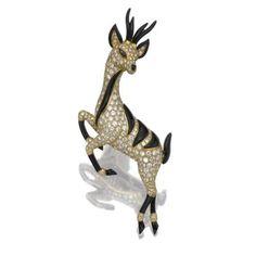 "Onyx and diamond ""Antelope"" brooch, Bvlgari"