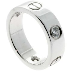 Pre-owned Cartier 3 Diamond Love Ring in White Gold ($2,899) ❤ liked on Polyvore featuring jewelry, rings, band rings, white gold rings, round ring, 18 karat white gold ring and diamond jewelry