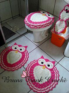 Arte em Crochê por Bruna Frank: Jogo de banheiro coruja Rosa