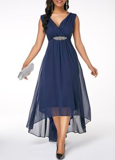 8d4bc2a1615 Sleeveless V Back High Low Navy Blue dress
