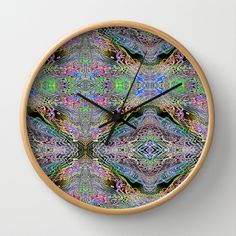 Neon Pinstripes 3 A Wall Clock by K Shayne Jacobson - $30.00
