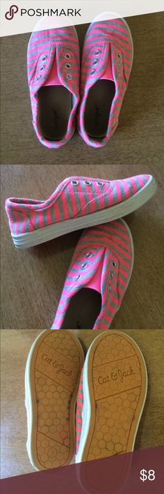 Cute striped shoes Super cute pink and gray laceless shoes. Easy off and on. Worn, but still plenty of life in them. cat & jack Shoes Sneakers