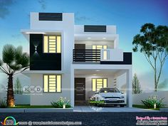 Super cute small contemporary home is part of Kerala house design - 1790 square feet 3 bedroom super cute looking small contemporary home plan by Dream Form from Kerala Modern Small House Design, Bungalow House Design, House Front Design, Modern House Plans, Single Floor House Design, Duplex Design, Small Contemporary House Plans, Modern Bungalow Exterior, Modern House Facades