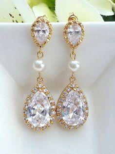 Bridal Earring  LARGE White Clear Peardrop by JCBridalJewelry, $44.95