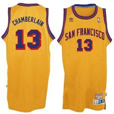 4acfd1b389a685 Men's Golden State Warriors Wilt Chamberlain adidas Gold Hardwood Classic  Swingman Jersey
