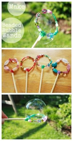 How to Make Beautiful DIY Bubble Wands with Beads (That Work Great!) DIY Bubble Wands with Beads<br> These DIY bubble wands made with pipecleaners and beads are a fun kids craft project. Plus the finished bubble wands are beautiful and work great! Craft Projects For Kids, Fun Crafts For Kids, Summer Crafts, Diy For Kids, Craft Ideas, Beach Crafts, Art Projects, Creative Crafts, Garden Projects