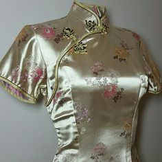 Vintage Dresses - Dazzling Golden Asian Dress