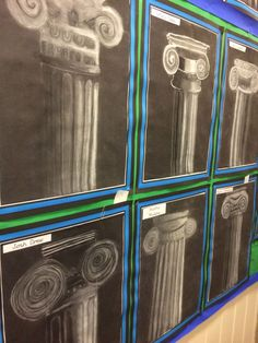 Greek and Roman columns chalk and charcoal - Art Education Art Pastel, Classe D'art, Greece Art, Middle School Art Projects, Art History Lessons, Roman Columns, 8th Grade Art, Ancient Greek Art, Fifth Grade