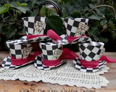 Mad Hatter Hats-Alice in Wonderland Party Favors-photo booth props- Alice Tea Party table decorations- Onederland party hats- High Tea Decor Alice Tea Party, Mad Tea Parties, Tea Party Hats, Alice In Wonderland Props, Alice In Wonderland Tea Party, Diy Party Table Decorations, Tea Party Birthday, Elmo Party, Elmo Birthday