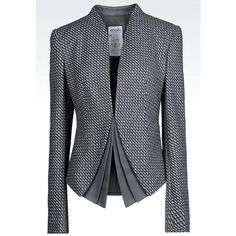 ARMANI COLLEZIONI Jacket In Wool And Cashmere featuring polyvore, fashion, clothing, outerwear, jackets, grey, armani collezioni, woolen jacket, gray jacket, long sleeve jacket and grey wool jacket