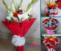 Online Kharidi - Send fresh roses to your special ones. Send this beautiful bunch of 10 roses with Red Paper Packing and Red Ribbon. Buy Flowers Online, Red Paper, Red Ribbon, Evergreen, Planter Pots, Roses, Packing, Fresh, Beautiful