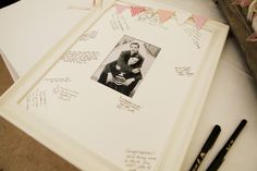 The wide mat allows for notes and well wishes from your guests.