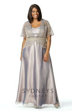 Sydney's Closet dress SC4029. Elegant chiffon and laser-cut organza formal gown.