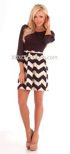 Black and Cream Chevron Trendy boutique Dress  ~Love it, getting it!