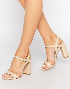 Image 1 ofHead over Heels By Dune Maylie Nude Block Heeled Sandals