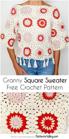Today I have this beautiful granny square sweater for you. It is a really simple pattern that even beginners can handle. Vintage Crochet Patterns, Easy Crochet Patterns, Crochet Designs, Crochet Cardigan, Crochet Yarn, Free Crochet, Crochet Sweaters, Crochet Tops, Granny Square Sweater