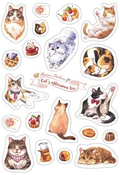 Cat Afternoon Tea - White Knife Die Stickers Stickers Kawaii, Cool Stickers, Printable Stickers, Journal Stickers, Scrapbook Stickers, Planner Stickers, Bullet Journal Kawaii, Homemade Stickers, Tumblr Stickers
