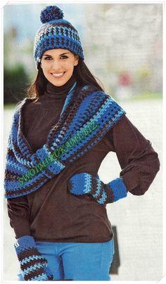 фото Женский комплект крючком, вязание шарф-петля