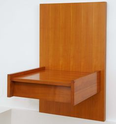 Bernard Marange ; Elm Wall-Mounted Nightstand, 1959. Pair Of Bedside Tables, Vintage Nightstand, Cubby Houses, Cubbies, Floor Chair, Cool Furniture, Accent Chairs, Objects, Retro
