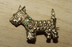 Westie Scottie Dog brooch pin art deco crystals gold tone vintage 1920 1930 20s