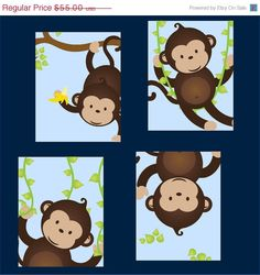 Monkey Nursery Art for boy, Set of Four  8x10 prints, great for nursery, or toddler room, or as a gift, boy/girl version. $55.00, via Etsy.