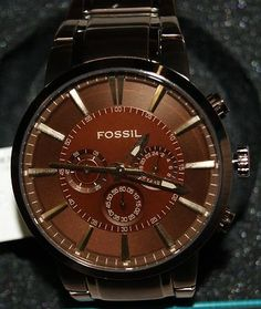 FS4357 NEW NIB FOSSIL BROWN ION PLATED STAINLESS STEEL MEN'S CHRONOGRAPH WATCH