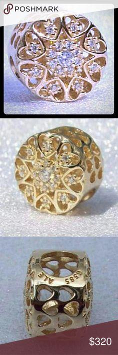 Pandora 14k real gold charm bead radiant heart Pandora real 14k Gold radiant button Hearts Of Gold Bead with Clear CZ item #750841CZ Pandora  Jewelry Bracelets