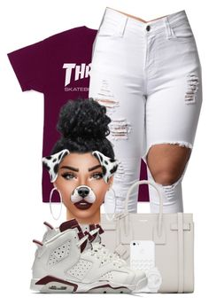"""""""T H R A S H E R"""" by chiamaka-ikaraoha ❤ liked on Polyvore featuring Yves Saint Laurent, NIKE, Lime Crime and adidas"""