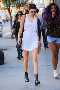 in Alexander Wang boots in New York City.   - HarpersBAZAAR.com