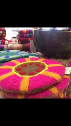 Felted coasters. Handmade in Nepal
