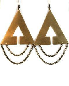 Ava Brass Triangle Earrings