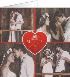 carte de remerciements mariage rouge passion disponible en 2 formats et personnaliser sur popcarte - Remerciement Mariage Personne Absente