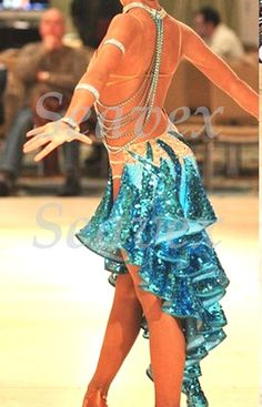 Competition Cha Cha Latin Ramba Samba Dance Dress US 8 UK 10 Skin Blue Color   eBay
