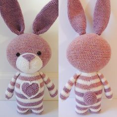Isnt she cute? When you make this cute rabbit with sockyarn, she will be approx. 29 cm. When you make her with cotton, she will be approx. 40 cm. Make her for yourself, or give her to your daughter, granddaughter, or a child you love! You can change the colors to any color you like. The crochet pattern is available in English (US terms) and Dutch. After you have bought the pattern, you can download it immediately. You will receive a pdf-file of 10 pages in colour with a lot of step-by-step…